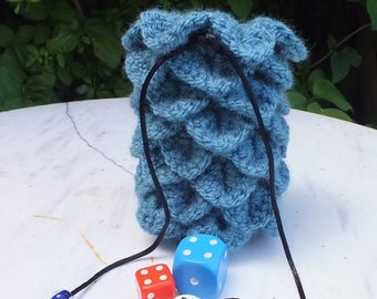 Dragon egg-style crocheted dice bag, board games, RPG, teal blue-green, drawstring bag. Dice not included.