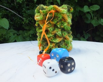 Dragon egg crocheted dice bag, board games, RPG, greens and orange, drawstring bag. Dice not included.