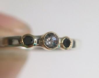 Salt&Pepper, black diamond ring