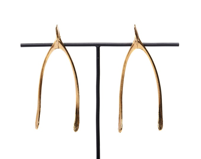 Featured listing image: Wishbone ear studs in 24ct gold plated silver