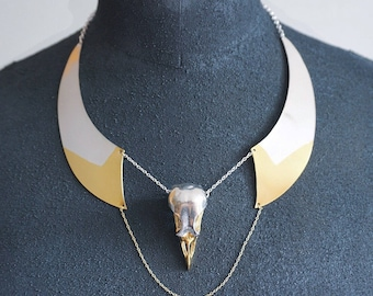 Bird skull collar necklace with gold details