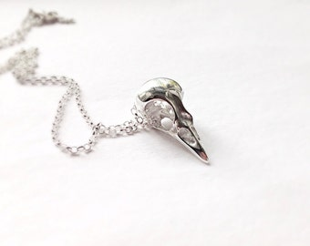 Sterling silver bird skull necklace, Long
