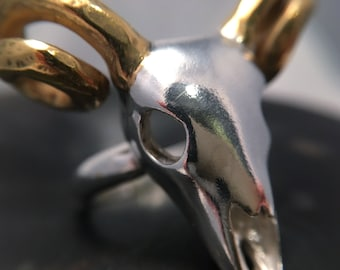Ram skull statement ring