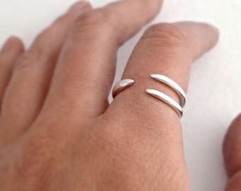 Bird claw ring in sterling silver