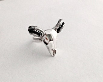 Sterling silver ram skull ring