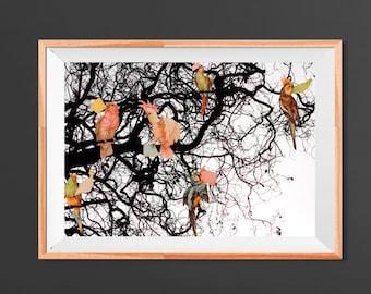 Christmas, The Messengers print, Tree nature, Black and white, Photomanipulation, Vintage birds, Wanderlust wall decoration, Beautiful art