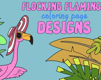 10 COLORING PAGES Flocking Flamingos Adult Coloring Book ; Meditation; Self Care Self Help; Mental Health; Stress Relaxation; Birds; POD