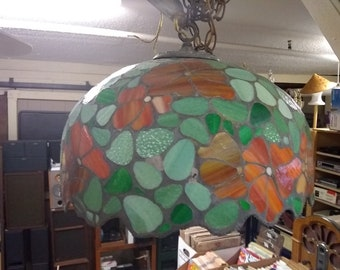 Vintage Tiffany Style Handcrafted Stained/Slag Glass hanging light(S/R)