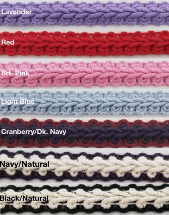 Many Color Options! 1//2 Scroll Braid Gimp w//Backing 12 Continuous Yards Navy