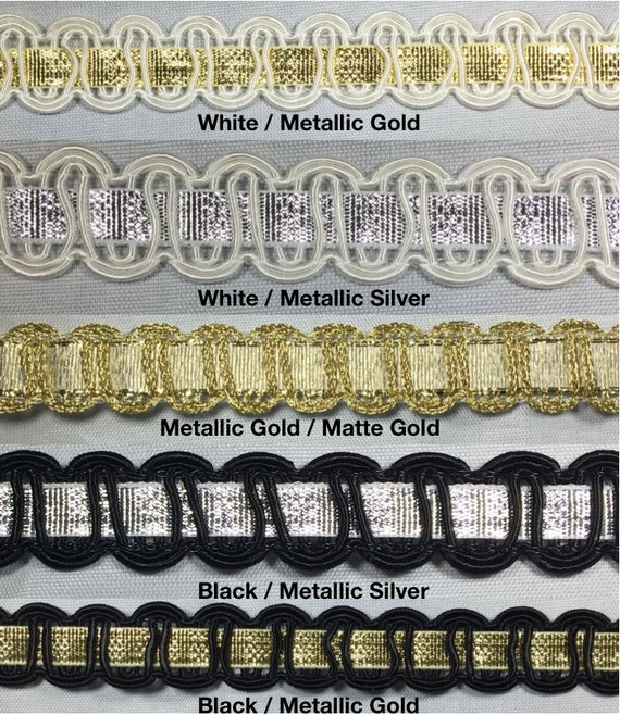 10 Continuous Yards 1//2 Metallic Braid Gimp Trimming Many Colors! White//Gold