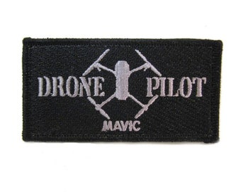 DRONE FLYING ZONE PILOT EMROIDERED  PATCH   10 X 3.5 CM