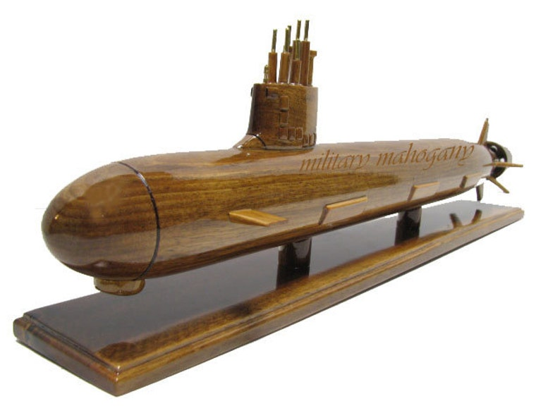 USS Virginia SSN-774 Nuclear Class Submarine Wood Wooden Handcrafted  Mahogany Sub Model Gift