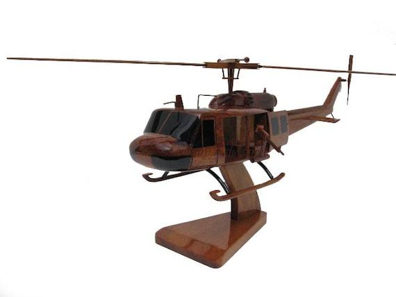 Bell UH-1 Army Marine Huey Door Guns Gunner M60 Machine Gun Vietnam Era  Wood Helicopter Mahogany Wooden Model