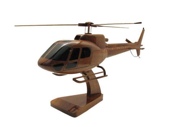 Wooden Executive Desktop Model. Eurocopter AS350 Squirrel Utility Helicopter