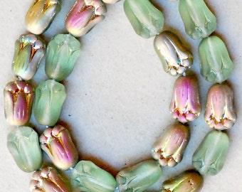 1845 Blue green tulip beads Czech glass 12x8mm flower beads 20Pc