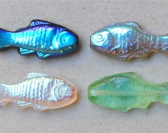 Fish Bead - Czech Glass Fish Beads - 24mm x 11mm - Various Colors Available - Qty 10
