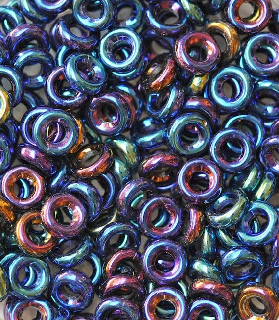 Amethyst 50 8 x 2.5 mm Czech Glass Donut Beads Matte