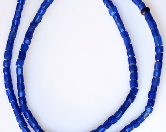 Antique Bohemian Russian Blue Beads - Vintage African Trade Beads - 26 Inch Strand