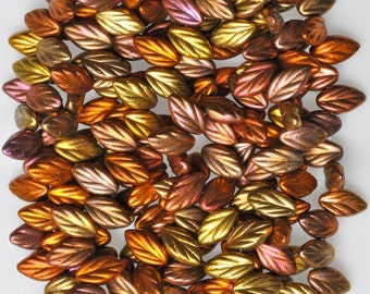 11mm x 7mm Small Leaf Bead - Czech Glass Leaf Beads - Top Hole Beads - Various Metallic Colors - Qty 24