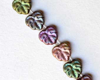 2 Hole Czech Glass Beads - 13mm Maple Leaf - Various Colors Available - Qty 10 or 25 or 100