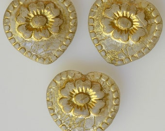Czech Glass Large Heart Bead with Gold Etched Flower Design - Victorian Heart Bead - 17mm x 18mm - Various Matte Colors - Qty 4 or 10