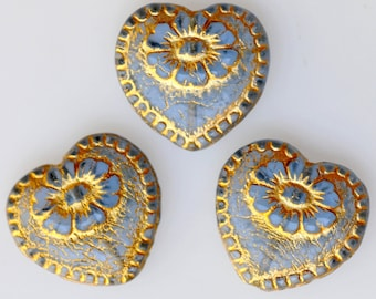 Czech Glass Large Heart Bead with Gold Etched Flower Design - Victorian Heart Bead - 17mm x 18mm - Various Shiny Colors - Qty 4 or 10
