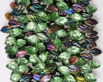 11mm x 7mm Small Leaf Bead - Czech Glass Leaf Beads - Top Hole Beads - Various Vitrail Shiny Colors - Qty 24
