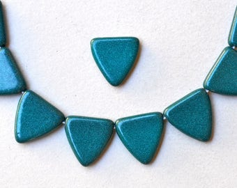 17mm Czech Glass Triangle Beads - Various Shiny Colors Available - Qty 10 or 40