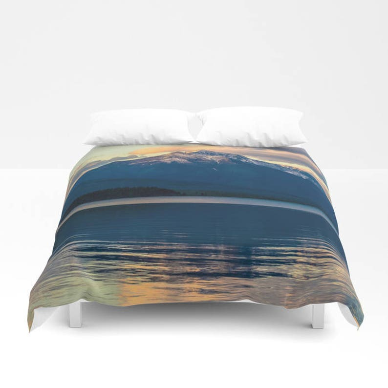 Mountain Duvet Cover Mountain Bedding Mountain Bedroom Lake Etsy