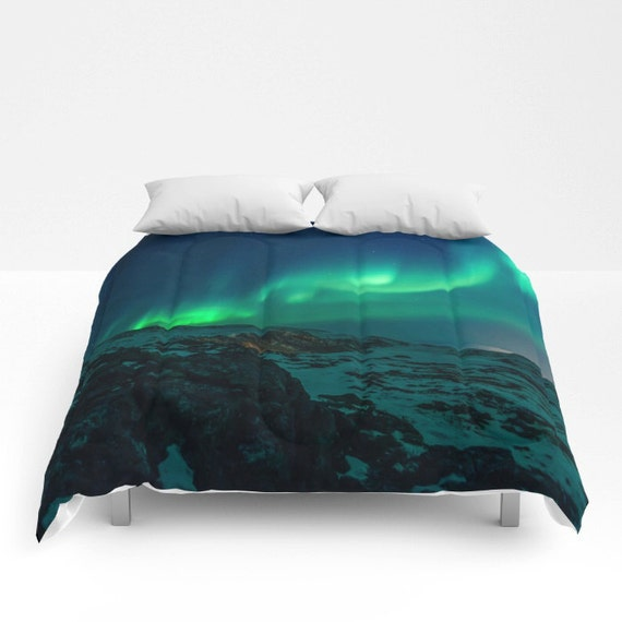Mountain Bedding Mountain Comforter Aurora Borealis Etsy