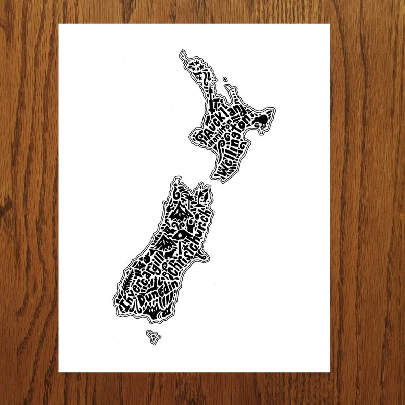 New Zealand Map Art Print Signed 8 5 X 11 Print Etsy
