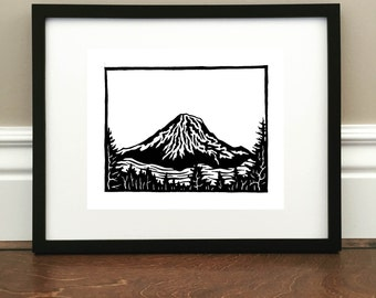 "Mount Rainier - Signed Print - Cascades in Washington - 8.5"" x 11"""