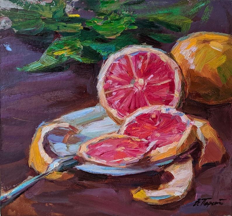 Signed artwork Still life with grapefruit Original Oil Painting by a Ukrainian artist V.Pereta Impressionist fine art Still life painting