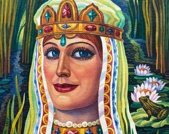 "VINTAGE FEMALE PORTRAIT Original Oil Painting ""Princess Frog"" by Ukrainian artist Rudametkin V. 1990s, Signed, Ukrainian Art, Women Portrait"