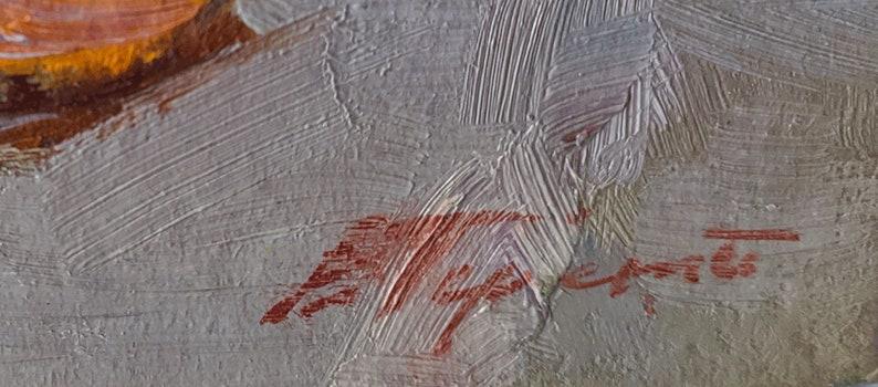 Impressionist fine art Still life painting Signed artwork Still life with tangerines Original Oil Painting by Ukrainian artist V.Pereta