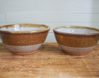 Ceramic Mixing Bowls - Brown and White