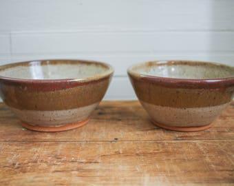 Ceramic Mixing Bowls - Brown and Tan