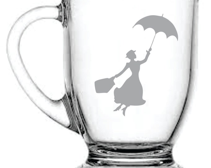 Deep Engraved Personalized Mary Poppins Dishwasher Safe Wine Glass, Whiskey Glass, Glass Coffee Mug, Champ Flute