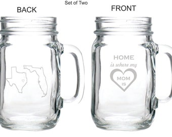 "Engraved Personalized Custom ""Home is Where Mom is"" Glass Mason Jar Mug, Stemless Wine Glass, Coffee Mug (State - City - Province)"