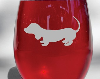 Deep Engraved Dachshund, Weiner Dog Personalized Wine Glass, Whiskey Glass, Glass Coffee Mug, Champagne Flute
