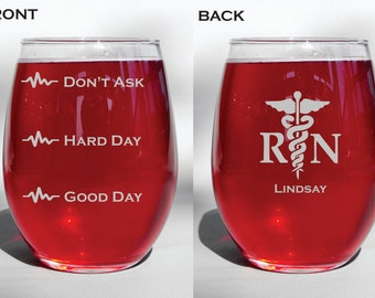 "Deep Engraved ""Good Day, Bad Day, Don't Ask"" Nursing glass, wine glass"