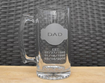 Deep Engraved Dad/Father or Mom/Mother etched est birthdates Beer Mug, Pilsner, Mason Jar Mugs, Whiskey Glasses, Coffee Mugs - Gift for Dad