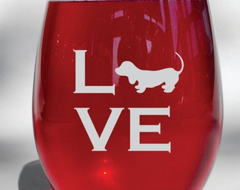 Deep Engraved Dishwasher Safe Personalized I Love My Dachshund Weiner Dog Wine Glass, Whiskey Glass, Glass Coffee Mug, Champagne Flute