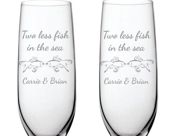 Deep Engraved Dishwasher Safe Personalized Two Less Fish in the Sea Custom Champagne Flutes, Wine Glasses, Stemless, Whiskey, Glass Mugs