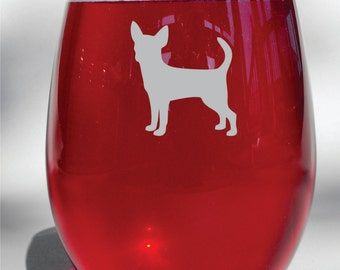Deep Engraved Dishwasher Safe Etched Chiahuahua Wine Glass, Whiskey Glass, Glass Coffee Mug, Champ Flute