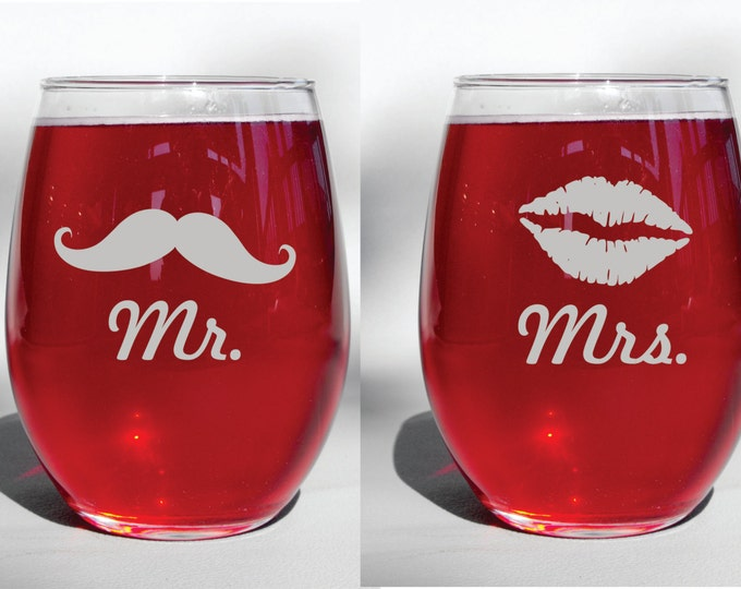 Personalized Mr and Mrs Lips and Mustache Custom Engraved Glasses Wine Glass, Whiskey Glass, Glass Coffee Mug, Champ Flute