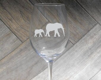 Deep Engraved Dishwasher Safe Elephant and Baby Elephant African Inspired Wine Glass, Whiskey Glass, Glass Coffee Mug, Champ Flute