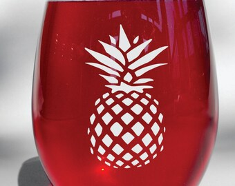 Deep Engraved Dishwasher Safe Personalized Pineapple Stemless Wine Glass, or Choice of Glass - Pineapple Glassware - Pineapple Decor