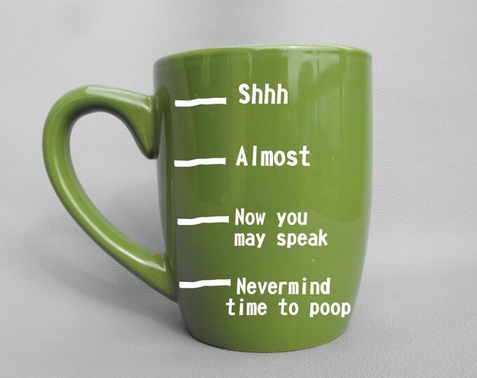 Deep Engraved Dishwasher Safe Funny Nevermind Time To Poop Fill Line Mug - Funny Mug - Gift For Dad - Christmas Gift Mug - Funny Coffee Mug