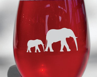 Deep Engraved Dishwasher Safe Elephant and Baby Elephant Wine Glass, Whiskey Glass, Glass Coffee Mug, Champ Flute